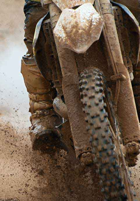 dirt bike wheel in Mud